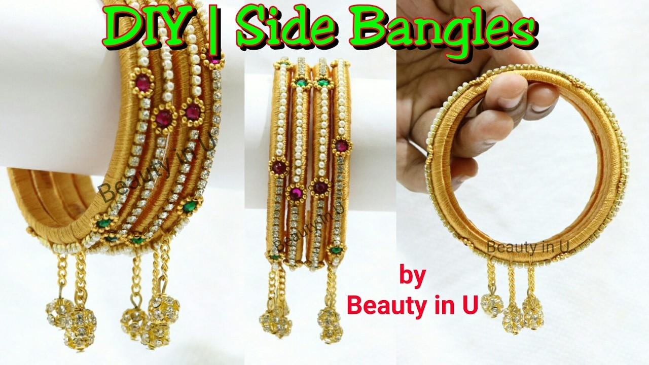 Diy How To Make Designer Silk Thread Side Bangles Set With Hangings At Home Tutorial My Crafts