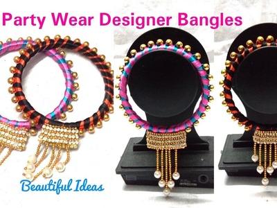 DIY.How to make Silk thread Designer Bangles. Pearls Designer Party Wear Bangles making at Home