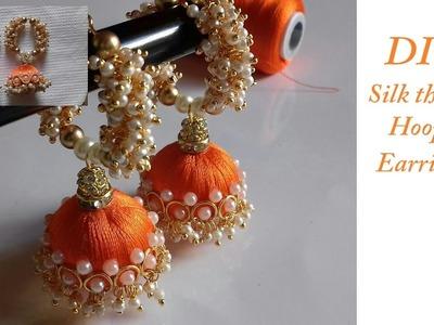DIY || how to make silk thread jhumka hoop earrings at home || DIY hoop earrings