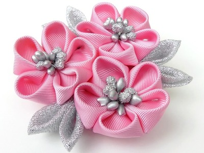 DIY Kanzashi flower hairclip I Kanzashi flower tutorial I How to make ribbon kanzashi flower
