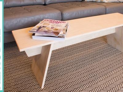 DIY Modern Angled Leg Plywood Bench  | Building Tutorial