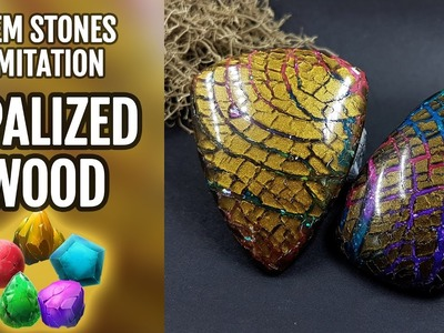 DIY Opalized Wood stone. Polymer Clay Realistic Gemstone imitation technique. VIDEO Tutorial!