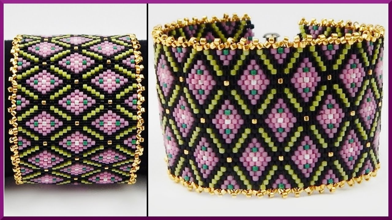 armband diy peyote stitch armband aus delica perlen schmuck flower beaded pattern bracelet diy. Black Bedroom Furniture Sets. Home Design Ideas