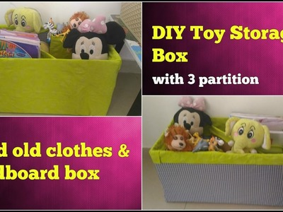 DIY STORAGE BOX FOR TOYS.BOOKS USING OLD CLOTHES & CARDBOARD, TOY MAKEUP ORGANIZER