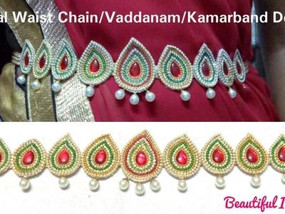 DIY.Waist Accessories: Bridal Waist Chain.Vaddanam. Kamarband Designs Making at Home.Tutorial.