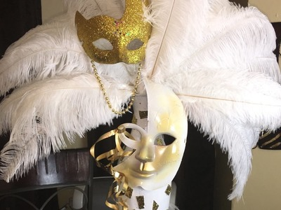Feather mask centerpiece HOW TO DO!!! DIY