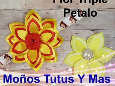 FLOR TRIPLE PETALO Paso a Paso TRIPLE PETAL FLOWER Tutorial DIY How To PAP
