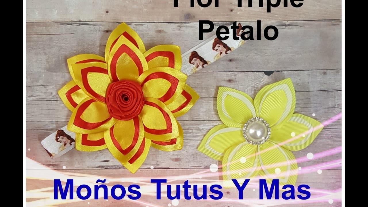 FLOR TRIPLE PETALO Paso a Paso TRIPLE PETAL FLOWER Tutorial DIY How To PAP