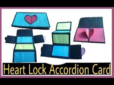 Heart lock accordion card Tutorial | How to make scrapbook card | DIY tutorial