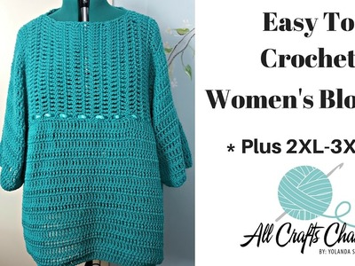 How to crochet Easy Plus Size Woman's Pullover Sweater - Top