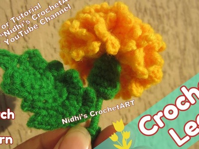 How to Crochet- Small Marigold Leaf Step by Step Tutorial for Beginners