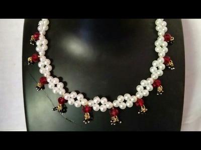How To Make Designer Necklace. Designer Pearls  Necklace. DIY. Chokar. Home Made Tutorial