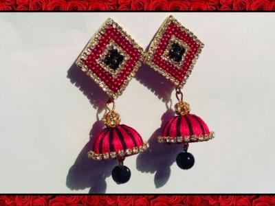 How To Make Diamond Shape Silk Thread Earrings |DIY Silk Thread Jumkas | Paper Stud Earrings at home