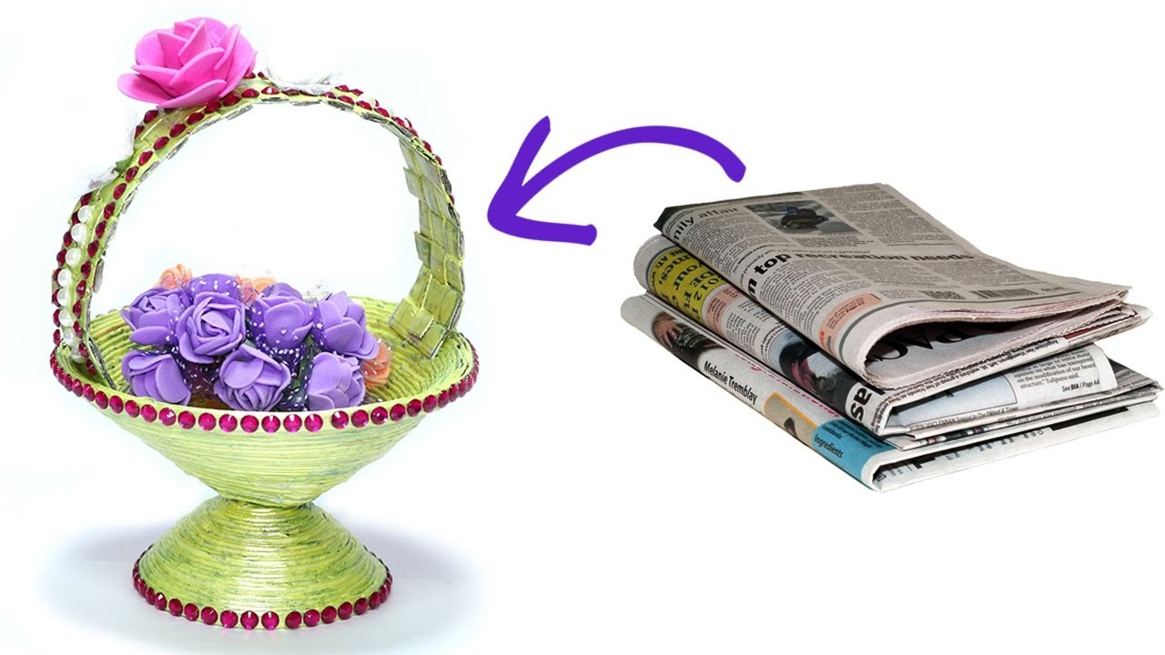 How to make diy newspaper basket best out of waste paper for Uses waste material art craft