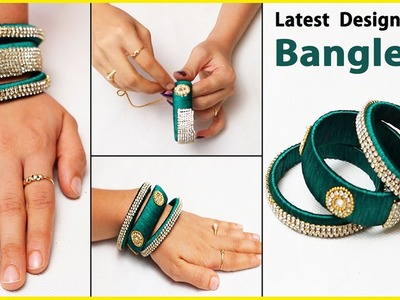 How to make Latest Silk Thread Stone Bangles | DIY Bangles making | Jewellery