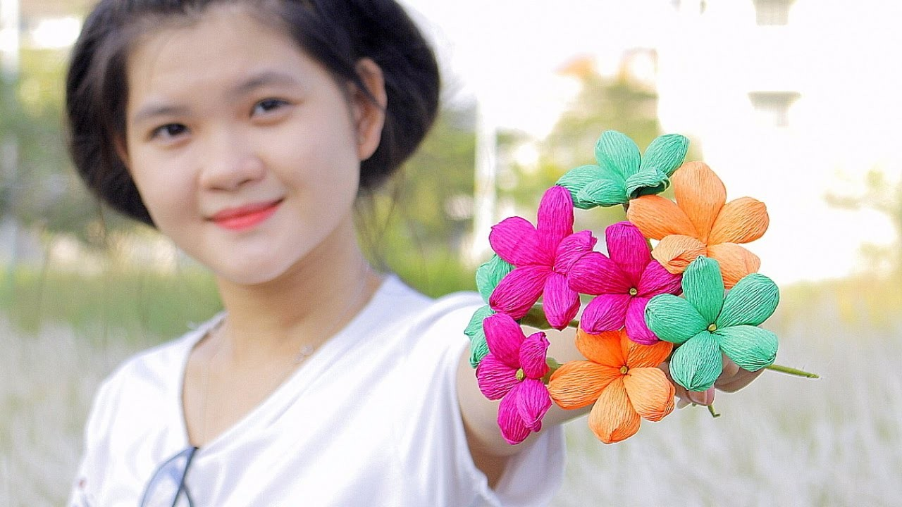 How to make Paper Flower 2017 ( Crepe Paper Flowers ) - DIY Paper Crafts