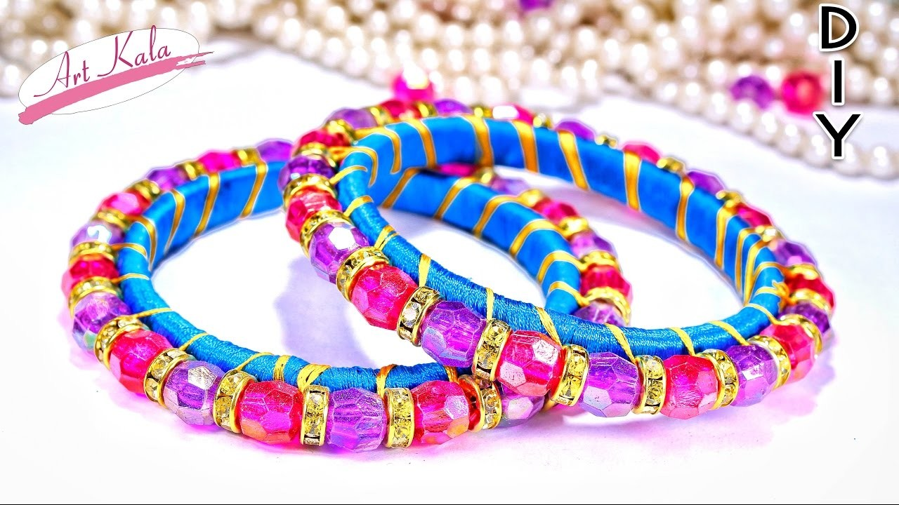 How to make silk thread bangles from waste bangles   thread bangles   DIY   Artkala 160