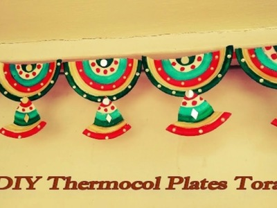 How to make toran or bandanwar from thermocol plates at home | DIY thermocol wall hanging kids craft
