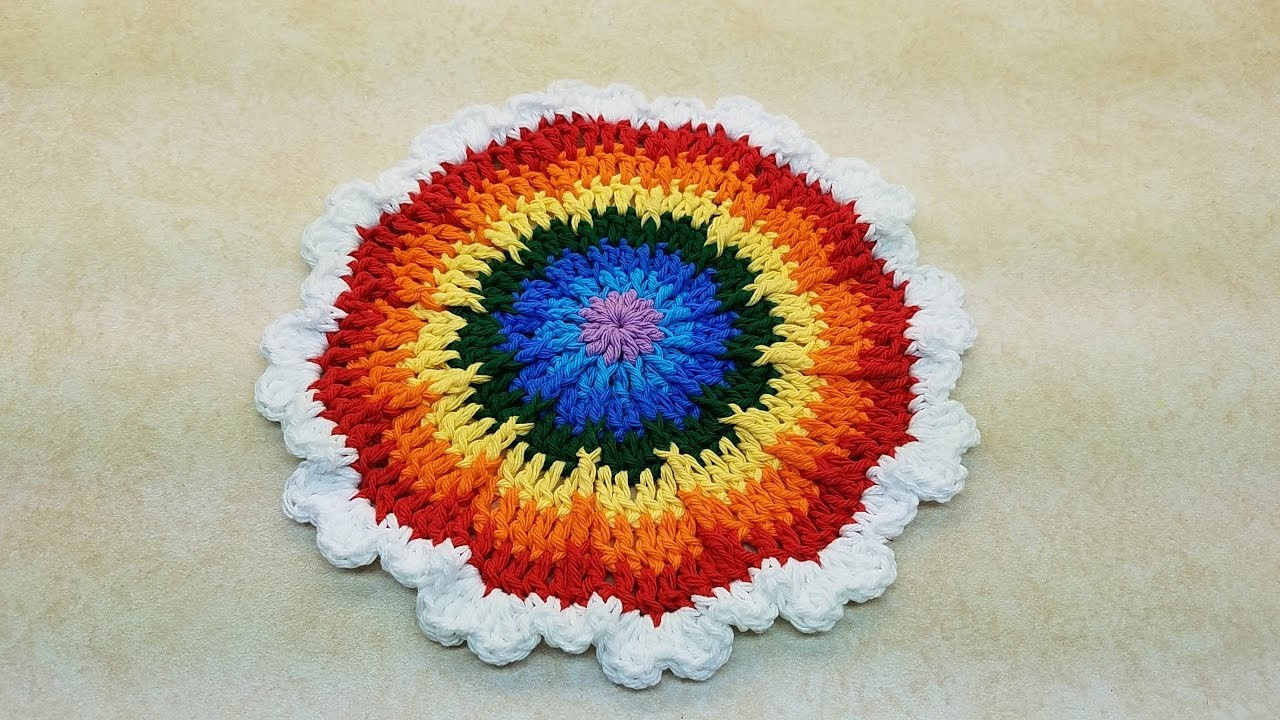 Learn How To #Crochet The Round The Rainbow Hot Pad or Wash Cloth TUTORIAL #382