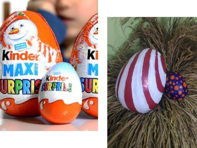 Make easter eggs from kinder joy cases- DIY best out of waste