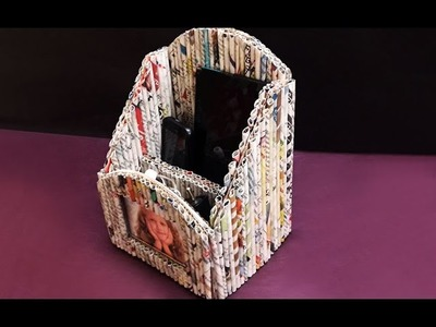 Making DIY Newspaper Mobile Stand. Pen Holder with Photo Frame | Newspaper Crafts | StylEnrich