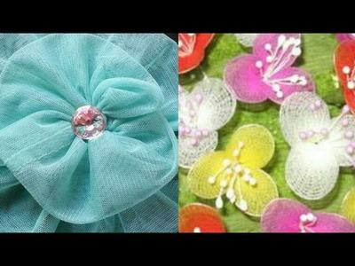 Net flower making DIY| how to make net febric flower