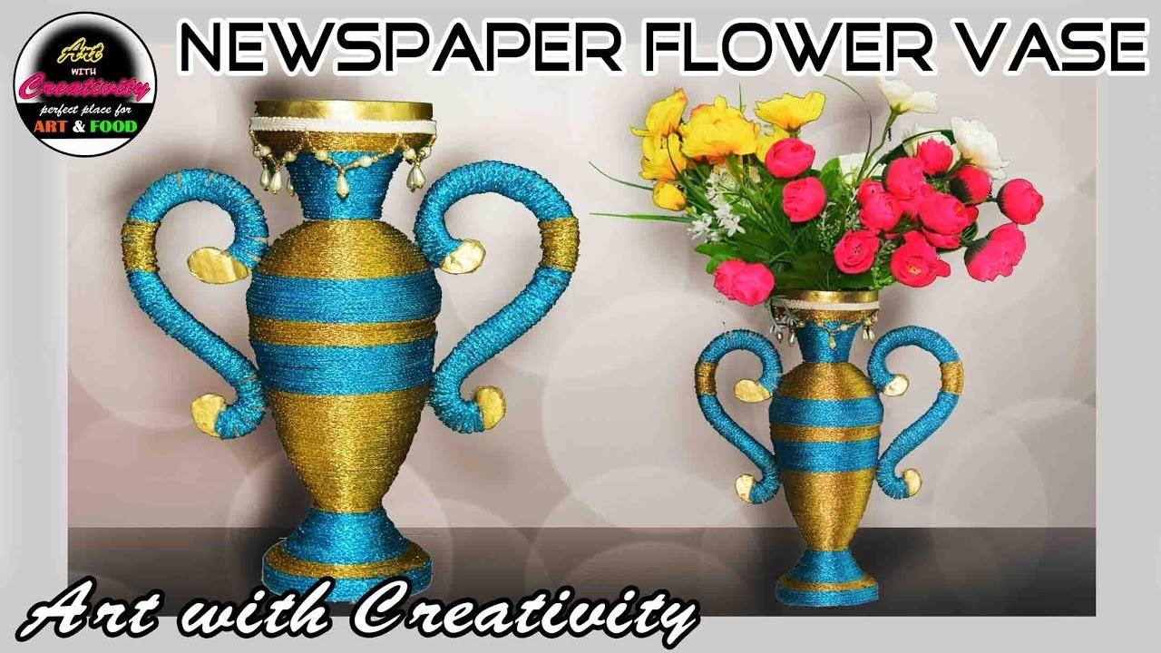 Newspaper Flower Vase Flower Pot Paper Craft Best Out Of Waste