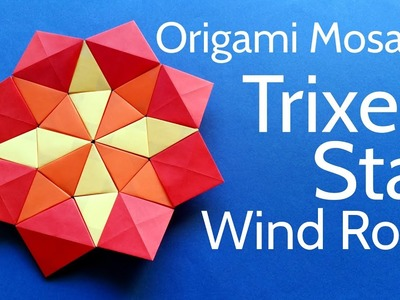 Origami Wind Rose Star Mosaic with Trixels (triangle pixels) - Easy DIY Tutorial