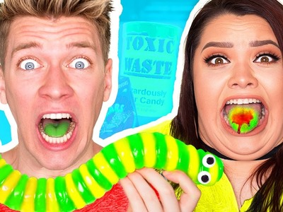 SOUREST DIY GIANT GUMMY WORM IN THE WORLD CHALLENGE! *Warheads Sour Candy* Gummy Food vs. Real Food