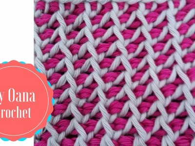 Tunisian crochet stitch pattern in round by Oana