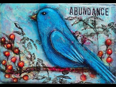 A Mixed Media Bird Post Card