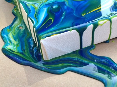 Acrylic Pouring Medium Demo on Gallery Depth Stretched Canvas
