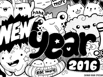 Doodling ~ Happy New Year 2016! + Download Doodle Printable