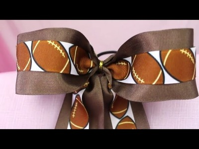 Double Ribbon Football Cheer Bow