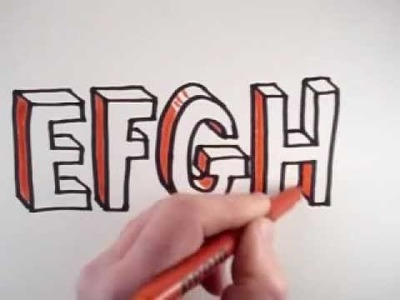 How to Draw 3D Letters: E F G H