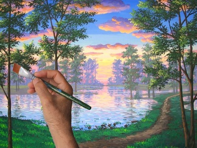 How To Paint A Trail By A Beautiful Lake At Sunset In Nature Time Lapse Complete Show