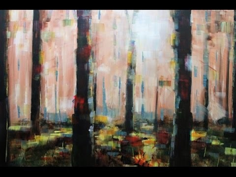 How to paint: Abstract Acrylic Landscape   Misty Forest Painting Lesson By Samuel Durkin
