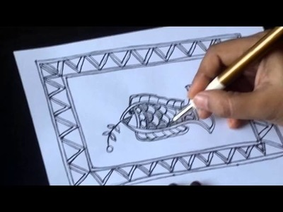 Lesson 5 : (हिन्दी) Create Greeting card with fish design in madhubani paitings - Part 2