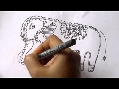 Lesson 9 : (हिन्दी) Draw an Elephant in Madhubani Art - Part 2