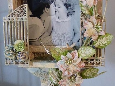 Mix media altered shadow box photo frame finished project