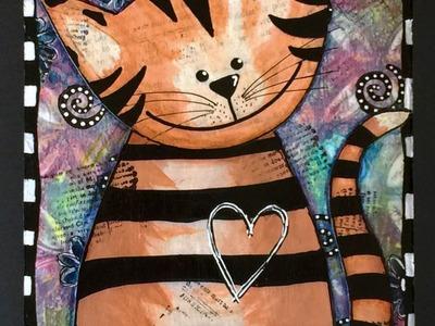 #pawgustart #artjournal - Whimsical Kitty Art Journal Page