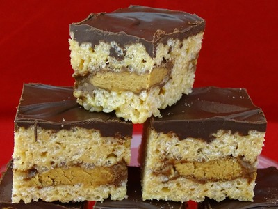 Reese Peanut Butter Cup Stuffed Rice Krispie Treats - with yoyomax12