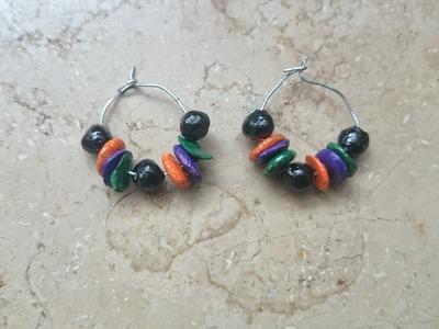 Terracotta hoop earrings making. clay hoop earrings making