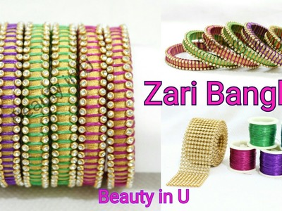 Bridal Zari Bangles | How to make Simple Designer Silk Thread Bangles using Zari Thread at Home