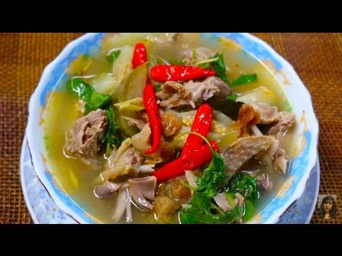 Cambodian Popular Food, How To Make Sweet And Sour Duck Soup With Eggplant, Samlor Machour Prey