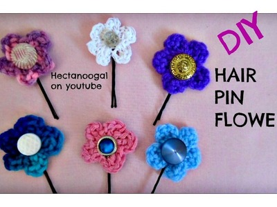 Crochet hair pin flowers, wedding accessories, for headbands, etc.