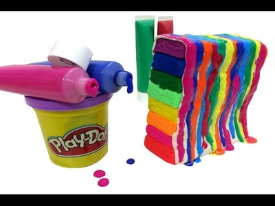 DIY How To Make Birthday Cake Play Doh & Painting Rainbow Colors