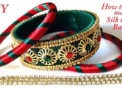 DIY || How to make designer silk thread bangles using bead caps at home || handmade tutorials