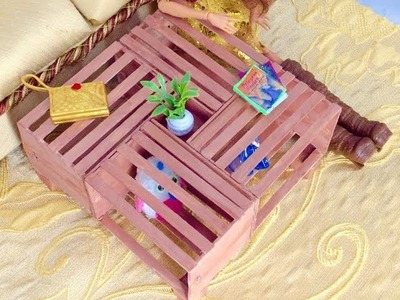 DIY- How to make: Doll Crate Coffee Table || Dollhouse Miniature Crafts