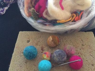 DIY How to make felt beads balls easy and recycled  PART I. Hacer pelotitas de fieltro  facil